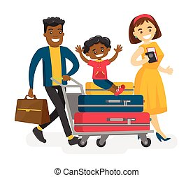 Cheerful multicultural family traveling abroad.
