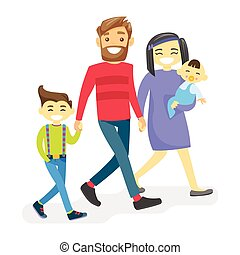 Cheerful multiethnic diverse family with happy kids.