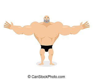 Cheerful Muscled spread his arms in an embrace. good big athlete. kind bodybuilder