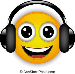 Vector illustration of cartoon emoticon with headphones