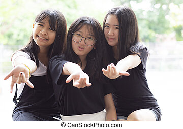 cheerful of three asian teenager happiness emotion