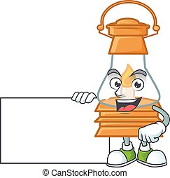 Cheerful oil lamp cartoon character having a board