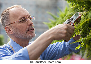 Cheerful old gardener is working with joy