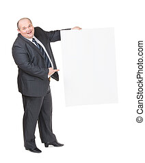 7a41b1937e0 Cheerful overweight man with a blank sign. Cheerful overweight stylish  business man in a suit ...