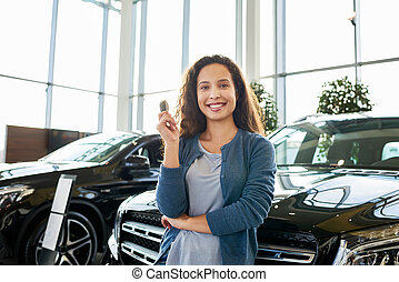 Cheerful Owner of New Car