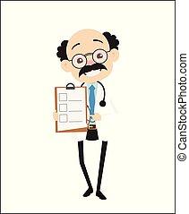 Cheerful Pathologist Showing Checklist Vector