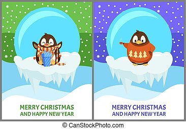 Cheerful Penguin in Sweater and Scarf Vector