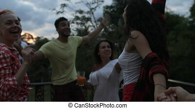 Cheerful People Dancing Having Barbecue Party On Summer Terrace In Tropic, Friends Group Communication