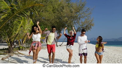 Cheerful People Dancing On Beach, Mix Race Men and Women...