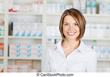 Cheerful pharmacist - Portrait of cheerful pharmacist ...