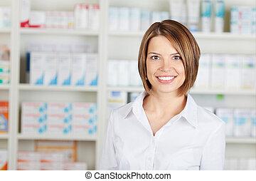 Cheerful pharmacist - Portrait of cheerful pharmacist ...