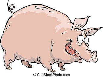 Cheerful pig on a white background vector illustration