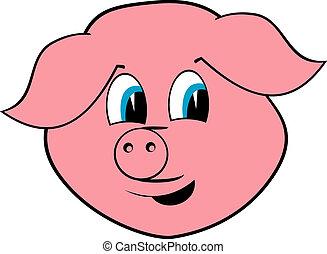 Cheerful pig portrait on white background