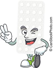 Cheerful pills mascot design with two fingers. Vector ...