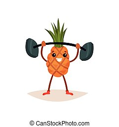 Cheerful pineapple holding barbell over his head. Active physical exercise. Funny humanized fruit. Flat vector icon