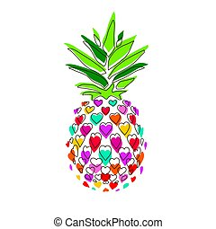 Cheerful pineapple vector illustration