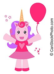 Cheerful pink unicorn with balloon isolated on white background