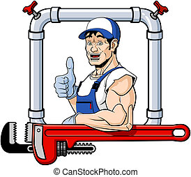 Cheerful plumber - Conceptual illustration of a friendly...