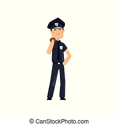 Cheerful police officer in blue uniform with donut, policeman cartoon character vector Illustration on a white background