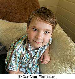 Cheerful portrait of a little boy