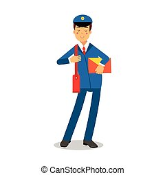 Cheerful postman in blue uniform with red bag holding yellow envelope cartoon character, express delivery mail vector Illustration