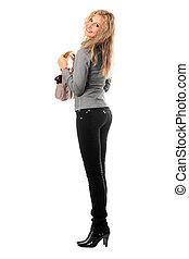 Cheerful pretty blonde with a handbag