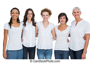 Cheerful pretty women posing with white tops