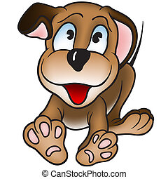 Puppy Dog - Cheerful Puppy Dog - Colored Cartoon ...