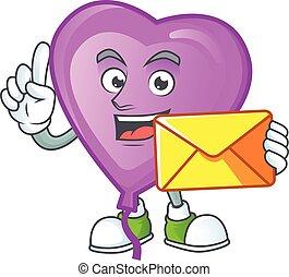 Cheerful purple love balloon mascot cartoon with envelope