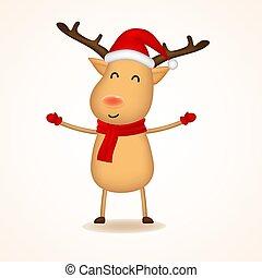 Cheerful Raindeer with Red Scarf and Santa?s Cap. Christmas cute cartoon character.