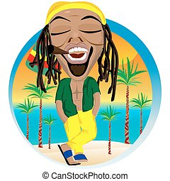 Cheerful rastafarian and palm tree beach