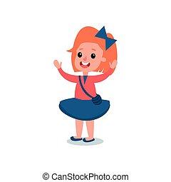 Cheerful red-haired girl in casual outfit red blouse, blue shirt, cross body handbag, bow in hair. Cartoon kid character standing with hands up. Flat vector design
