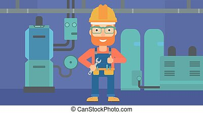 Cheerful repairer with spanner.