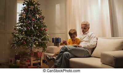 Cheerful retired man and his grandfather preparing Christmas...