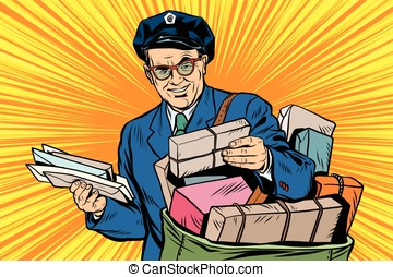 Cheerful retro oldster postman pop art - Cheerful oldster...