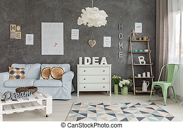 Cheerful room with letters