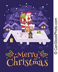 Cheerful Santa Claus on a roof climbing into the chimney with a bag full of presents  on Christmas night. Purple winter flat illustration greeting card