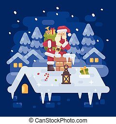 Cheerful Santa Claus on a roof climbing into the chimney with a bag full of presents  on Christmas night. Blue winter flat illustration