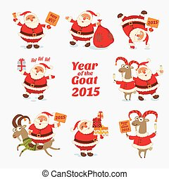 Cheerful Santa Claus. Year of the Goat 2015. Funny cartoon...