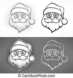 Cheerful Santa face - Santa Claus cheerful face in grey on...