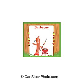 Cheerful sausage - funny invitation at bbq party