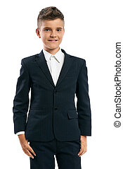 cheerful schoolboy standing on a white background