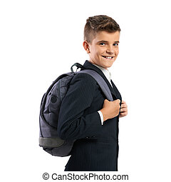 cheerful schoolboy with schoolbags isolates