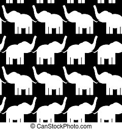 Cheerful seamless pattern with elephants. black and white. vector