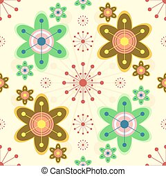 Cheerful seamless print of bright abstract flowers