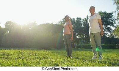 Cheerful senior couple doing squats in the park