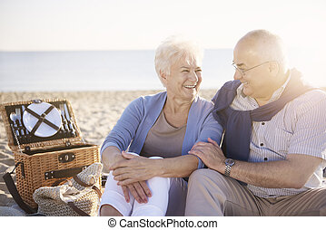 Cheerful senior couple on the picnic