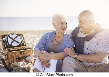 Cheerful senior couple on the picnic