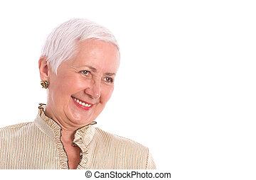 Cheerful Senior Woman Laughing - Joyful senior woman...