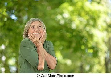 cheerful senior woman